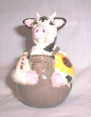 Cow #992 50.2394 Roly Poly Wearing Brown Overall Pie Bird