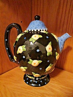 "MARY ENGELBREIT ME Ink 1997 8"" Ceramic Teapot Flowers Dots Black Blue Yellow"