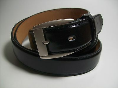 "Men Black leather belt with Brass Buckle S 30 - 32"" #523"