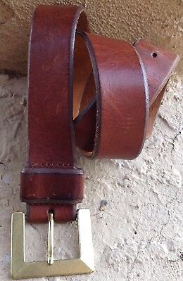 Distressed Genuine Leather Brown Belt Solid Brass Rectangular Buckle Size Small