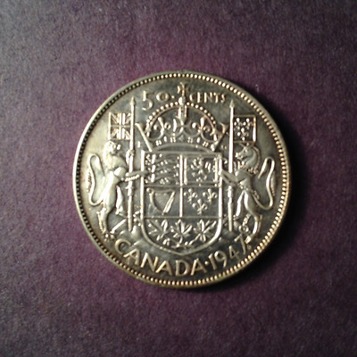 1947Ml Canadian Fifty Cent Piece (Silver)