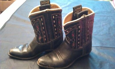 Vintage Acme Boot Co. Leather Inlay Rockabilly 1950's Baby Boots-Black