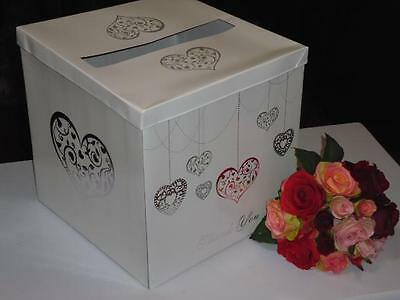 Wedding Wishing Well Box Card Holder In White & Silver - Weddings, Engagements