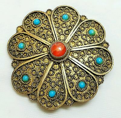 Vintage Made In IsraelBrooch Red Coral & Turquoise Super Unique
