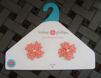 Lindsay Phillips TIA Pearls & CORAL Interchangeable Shoe Sandal Snaps