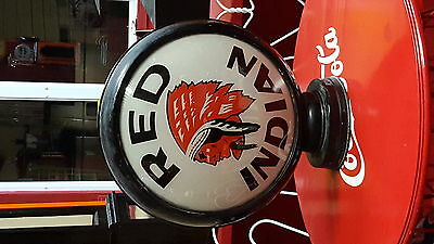 """Gas Pump Globe Red Indian In Metal 15"""" Body"""