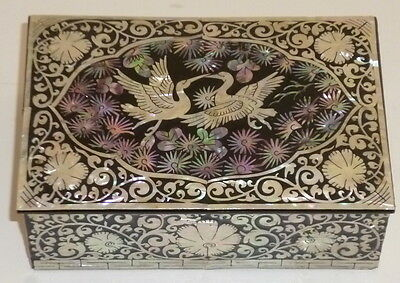 Korean Laquer Inlay MOTHER OF PEARL Jewelry/ Trinket Box