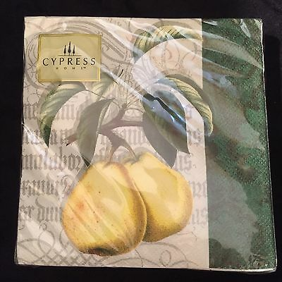 "NEW Cypress Home 20 Pack Cocktail Napkins 5"" Square. Pear Design"