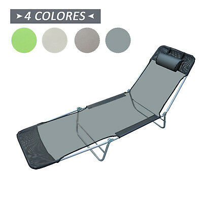 Tumbona Inclinable de Acero Plegable con Almohada Playa Piscina Varios Colores