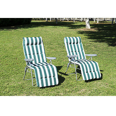 Pack 2 x Tumbonas Acero Plegable Inclinable Acolchado Reposapie Camping Verde+90