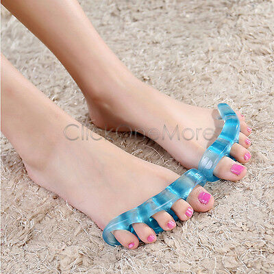 SAI - 1 Pair Silicone Gel Separate Toes Stretchers Feet Relieve Pain Relax Gym