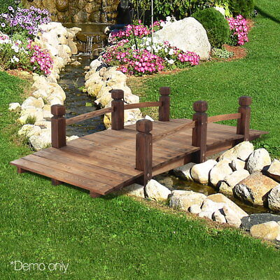 NEW Outdoors Wooden Bridge Garden Feature Decor Rustic Ornament Backyard Pathway