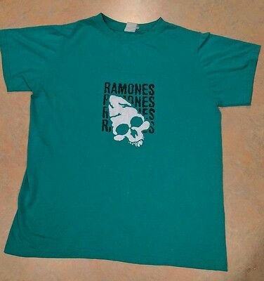 Vintage Ramones T-Shirt 1970s '80s '90s Green Collectible Rock Band Tee