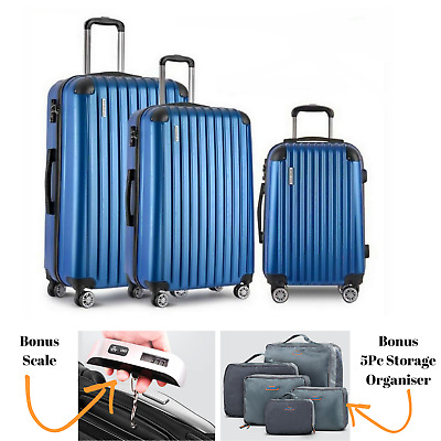3x Hard Shell Suitcase Luggage Suit Case Bag Trolley Travel TSA Lock FREE Scale