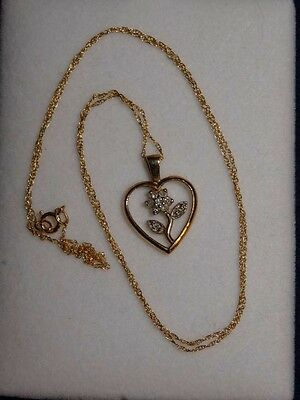 Gold Heart Necklace 10 K (Diamond In The Flower),gold Chain 10 K For Woman
