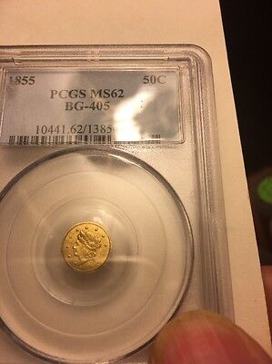 1855 BG-405 50 Cent Round Liberty Pioneer Gold Coin MS 62 PCGS
