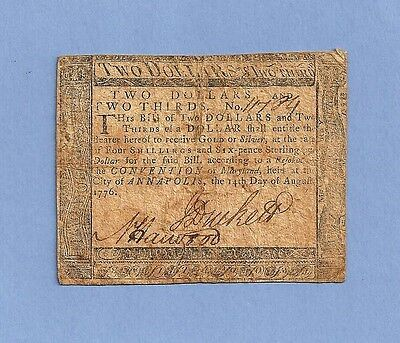 1776 Maryland $2 and 2/3rds dollar Colonial Note Fine Grade