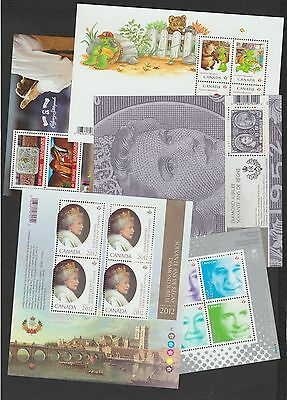 Stamps Canada - 5 x Minisheets - QEII / Franklin / Stampede more...  MNH
