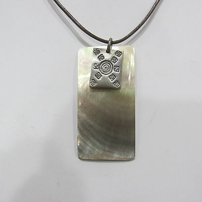 Vintage Signed J. Jill 925 Sterling Silver Mother Of Pearl Necklace