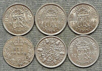 Lot Of 6 Nice UK(Great Britain) Silver Six Pence Coins