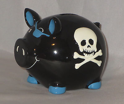 SKULL Piggy Bank Black Crossbones Blue Eye Patch Coin New Punk Rock Goth White