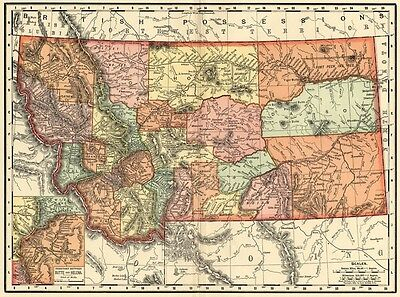 Montana Map: Authentic 1895 (Dated) showing Towns, Counties, Railroads & More