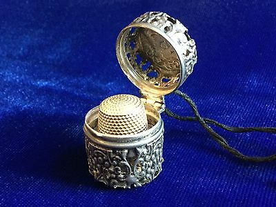 Antique Vintage 14k Gold Thimble & Sterling Silver Case dated 1912 Rare