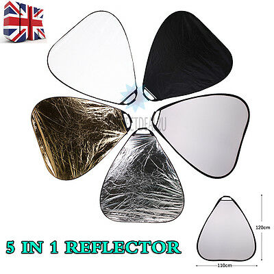 Photography Photo Studio 5-in-1 Light Collapsible Reflector UK Stock Triangular