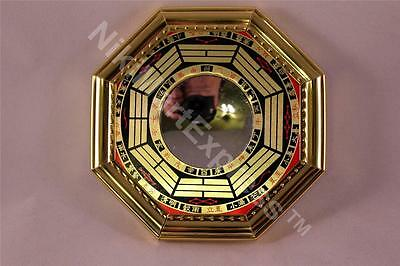 "4.8"" Chinese Oriental Protection Feng Shui Home House Gold Bagua Concave Mirror"