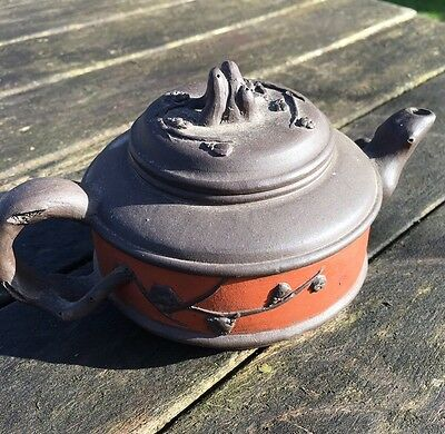 Vintage Chinese Yixing Trailing Twig Design Dual Colour Teapot 20Th C.