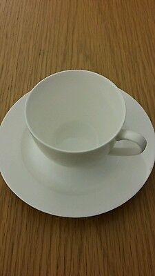 Serendipity plain white fine bone china cup and saucer Royal Worcester