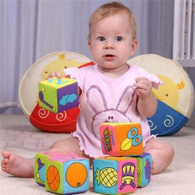 Rattle Bell Cloth Building Blocks Cube Assorted Pattern Education Toy 6 Pcs/set