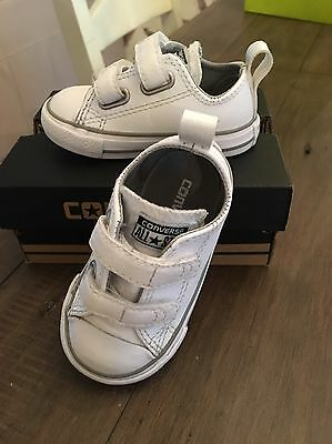Baby Boys Converse White Size 4, Immaculate Condition