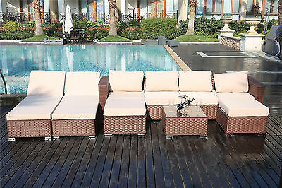 Papaver 6 Seater Sofa Set Garden Furniture Patio Daybed Sun Lounger Coffee Table