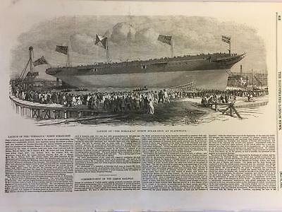 Antique Print The Launch of the Himalaya Screw Steam Ship at Blackwall 1853  a1