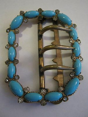 Antique Victorian Turquoise And Clear Paste Paste Buckle