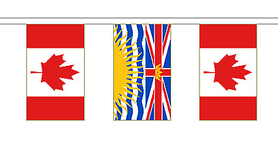 British Columbia & Canada Polyester Friendship Flag Bunting - 20m with 56 Flags