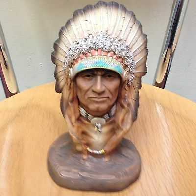 White Hawk Wood Carved Bust - Native American / Red Indian Warrior