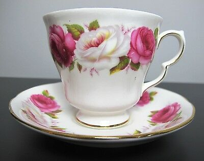 """Vintage """"Princess Roses"""" Queen Anne bone china TEA CUP AND SAUCER. Pink & white."""