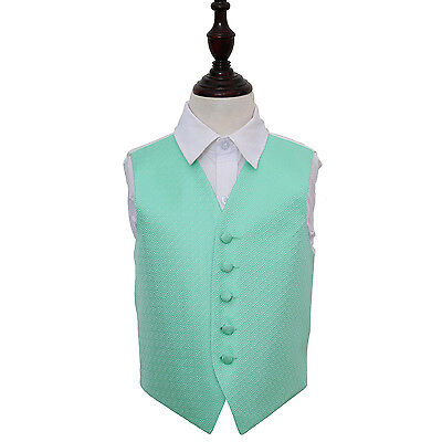 New Dqt Greek Key Boy's Wedding Waistcoat - Mint Green