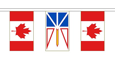 Newfoundland and Labrador & Canada Polyester Flag Bunting - 20m with 56 Flags
