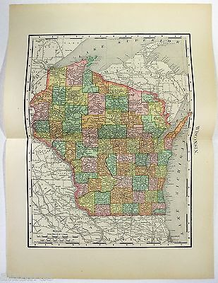 Original 1895 Map of Wisconsin by Rand McNally