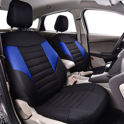 Unviersal Car Seat Covers Front Black Blue Airbag Fit Breathable Car Truck SUV