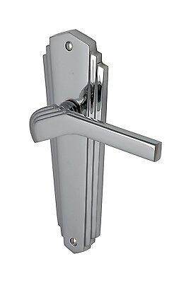 Waldorf Art Deco Door Handle in Polished or Satin Chrome - Latch / Lock / B'room
