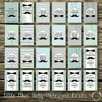 "Little Man Baby Moments & Milestones Cards 24 Pack 4×6"" Photo props boy"