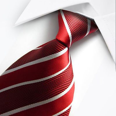 New Red White Stripe Classic Men's Chinese Silk Wedding Tie UK Seller Son Gift