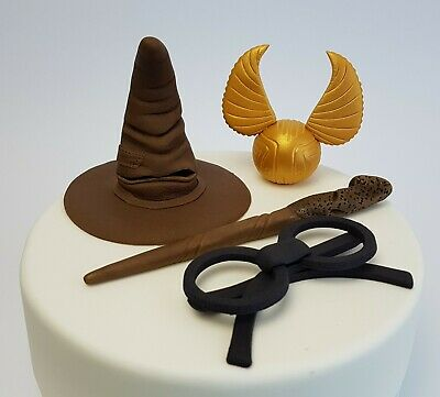 Harry Potter Cake Topper 3D Edible Gold Snitch Wand Magic Sorting Hat Wizard
