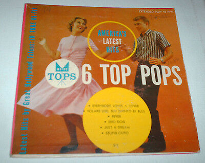 "RARE 7 "" VINYL 6 TOP POPS EP USAs LATEST HITS BIRD DOG FEVER ROCK N ROLL RECORD"