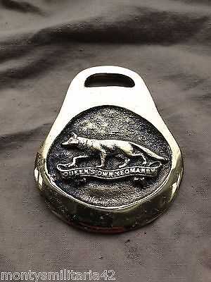 Excellent Vintage British Army Queens Own Yeomanry Horse brass