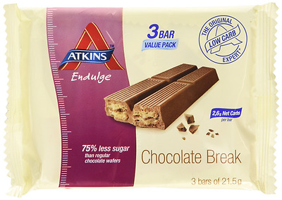 Atkins endulge Chocolate Break pack of 3x21.5g bars - Weight Management Loss